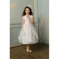 A-Line High Neckline Strapless with Lace Appliques and Ribbon Zipper Tea Length Satin and Organza Flower Girl Dress - Prices & Buy at ShopSimple.com