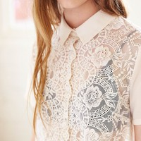 Cooperative Lace-Mix Cropped Button-Down Shirt - Urban Outfitters