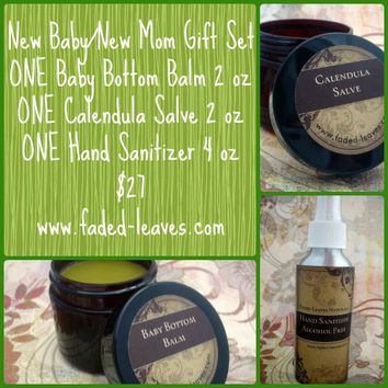 New Baby/Mom Gift set with baby bottom balm and calendula salve