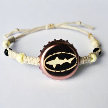 Dogfish Head Beer Recycled Bottle Cap Hemp Bracelet, fishing bracelet, unique jewelry, beer cap jewelry, men's bracelet, fishing lovers