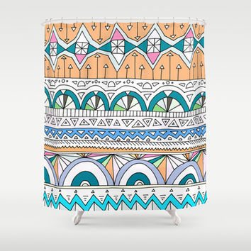 Tribal Lines #4 Shower Curtain by Ornaart