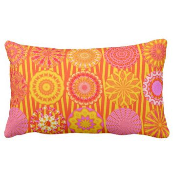 Kaleidoscope Fun, Pink-Orange Lumbar Pillow