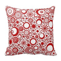 Round Red-White Throw Pillow