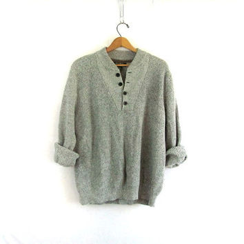 vintage slouchy sweater. gray sweater. henley pullover shirt.