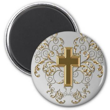 Gold Cross Ornate Scrolls Magnet, Gray