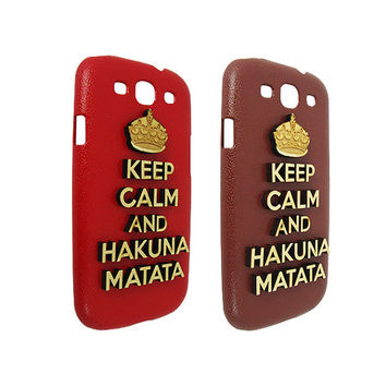 Keep Calm and Hakuna Matata 3d Wood For Samsung Galaxy S3 Cover Case
