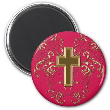 Gold Cross Ornate Scrolls Magnet, Raspberry