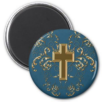Gold Cross Ornate Scrolls Magnet, Med Blue