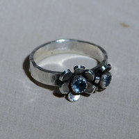 Sterling Silver Double Flower Ring with Swiss Blue Topaz