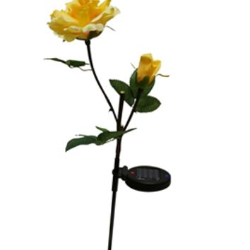 Solar Yellow Rose with White LED Light Garden Stake