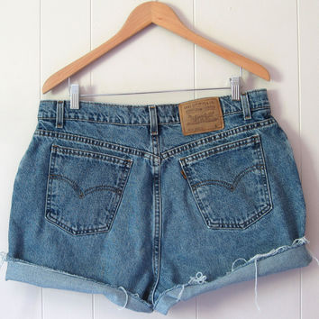 Vintage Levi's Medium Wash High Waisted Cut Off Denim Shorts Jean Cuffed 35""