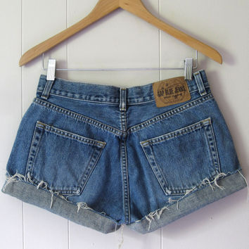 Vtg Medium Wash Mid High Waisted Cut Off Denim Shorts Boyfriend Jean 28""