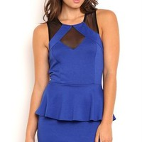 illusion mesh grid neck peplum dress