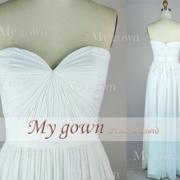 2014 Prom Dress,Strapless Draped Floor Length Chiffon Prom dress,Wedding Dresses,Bridesmaid Dresses,Formal dress,Evening Dress,Bridal dress