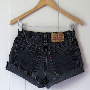 Vintage Levi's Black High Waisted Cut Off Denim Shorts Jean Cuffed Rolled 26""
