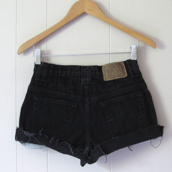 Vintage 90s Black Mid High Waisted Cut Off Denim Shorts Jean Cuffed 25""