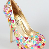 Privileged Gems Multicolor Rhinestone Platform Pump