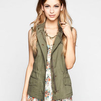 Ashley Womens Anorak Vest Olive  In Sizes