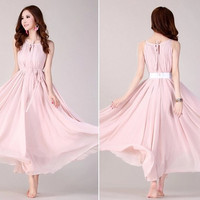 Pink  Long chiffon wedding dress sundress  Chiffon Evening Party dress blue Dress Prom Dress Wedding Party Dress women Dress (412)