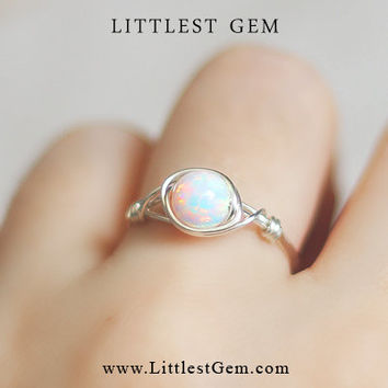 Opal ring  wire wrapped jewelry handmade  wire wrap ring