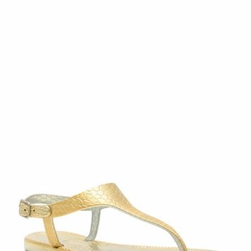 Reptile Textured Jelly Thong Sandals