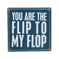 You Are The Flip To My Flop - Mini Decorative Beach Decor Box Sign 3-in x 3-in