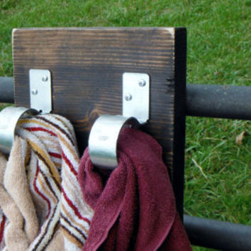 Rustic Towel Rack, with two modern metal loops for hanging- Bathroom/Kitchen Decor - Hand Towel Rack