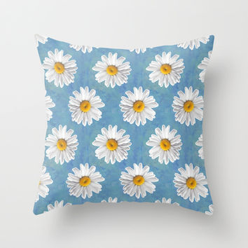 Daisy Blues - Daisy Pattern on Cornflower Blue Throw Pillow by Tangerine-Tane