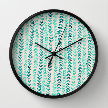 Hand Painted Herringbone Pattern in Mint Wall Clock by Tangerine-Tane