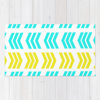 Sunshine Pop and Aqua Zig Zag Area & Throw Rug by Lisa Argyropoulos | Society6