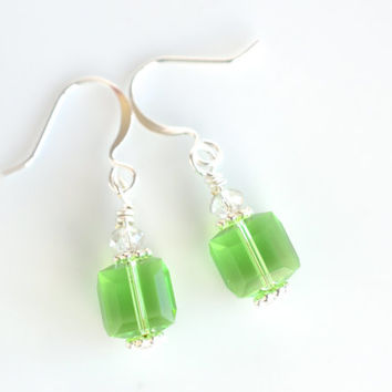 Peridot crystal dangle earrings, crystal dangle earrings, drop earrings, Swarovski crystal earrings, green crystal earrings, crystal jewelry