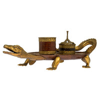 Bronze Figural Alligator Smoking Tray and Accessories