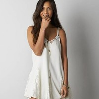 AEO Women's Pleated Slip Dress (Cream)