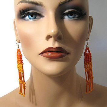Hand Beaded Orange Long Dangle Diva Statement Pierced Earrings