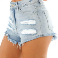 By The River Shorts: Light Denim