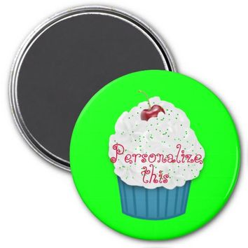 Cupcake with a Cherry Refrigerator Magnet