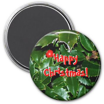 Holly Leaves Refrigerator Magnet