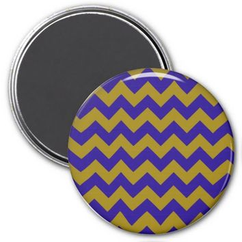 School Chevron Refrigerator Magnet, Blue-Gold