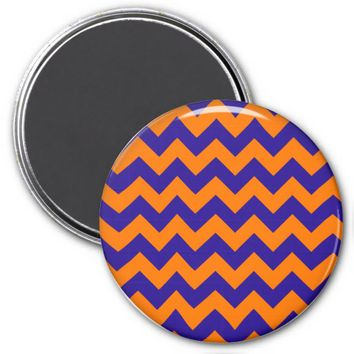 School Chevron Refrigerator Magnet, Orange-Blue