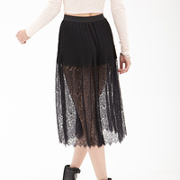 Lace Panel Pleated Skirt