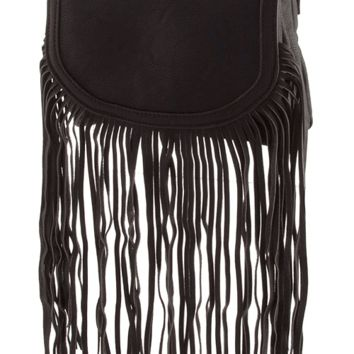 "Featuring a leatherette main, duo compartment style crossbody with fringed design, full interior lining, zip pocket, foldover magnetic snap button closure, and finished with an adjustable buckle strap. Black and white print underlining. 24"" drop shoulder s"