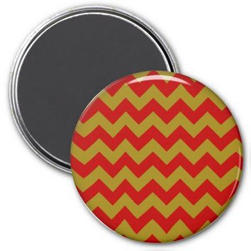 School Chevron Refrigerator Magnet, Red-Gold