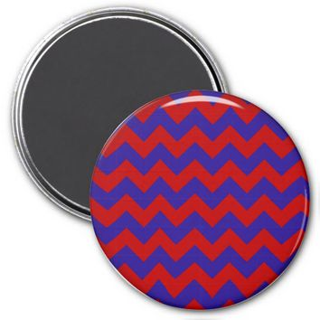 School Chevron Refrigerator Magnet, Red-Blue