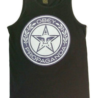 OBEY TANK TOP ANDRE THE GIANT PROPARGANDA NAVY & BLACK COLOR SIZE SMALL