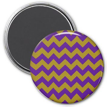 School Chevron Refrigerator Magnet, Purple-Gold