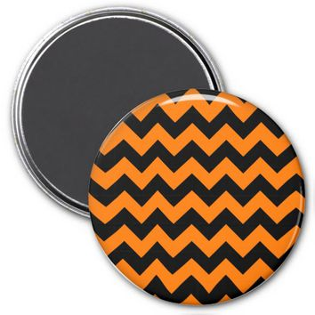 School Chevron Refrigerator Magnet, Orange-Black