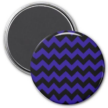 School Chevron Refrigerator Magnet, Blue-Black