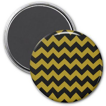 School Chevron Refrigerator Magnet, Black-Gold