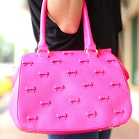 Little Bow Chic Handbag in Fuschia by Betsey Johnson