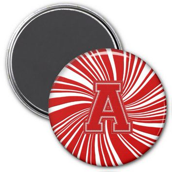 Collegiate Letter Magnet Red-White-A